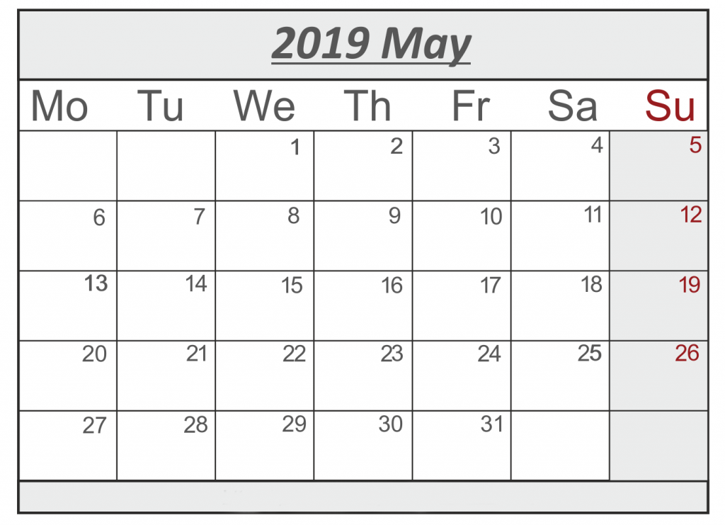 picture about Printable May Calendars known as Printable Could 2019 Calendar With Vacations [PDF, Excel, Phrase