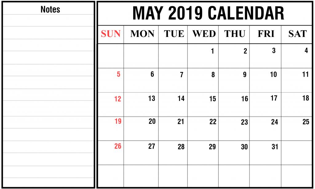 Printable May 2019 Calendar With Holidays [PDF, Excel, Word