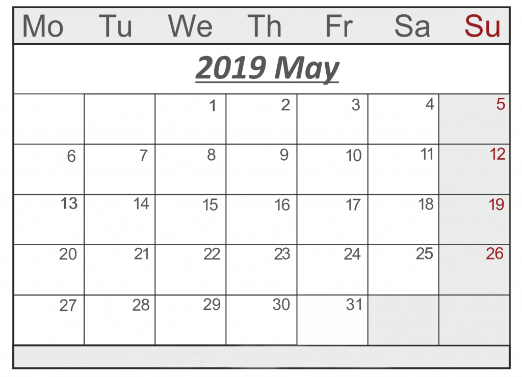 Printable May 2019 Calendar With Holidays Pdf Excel Word