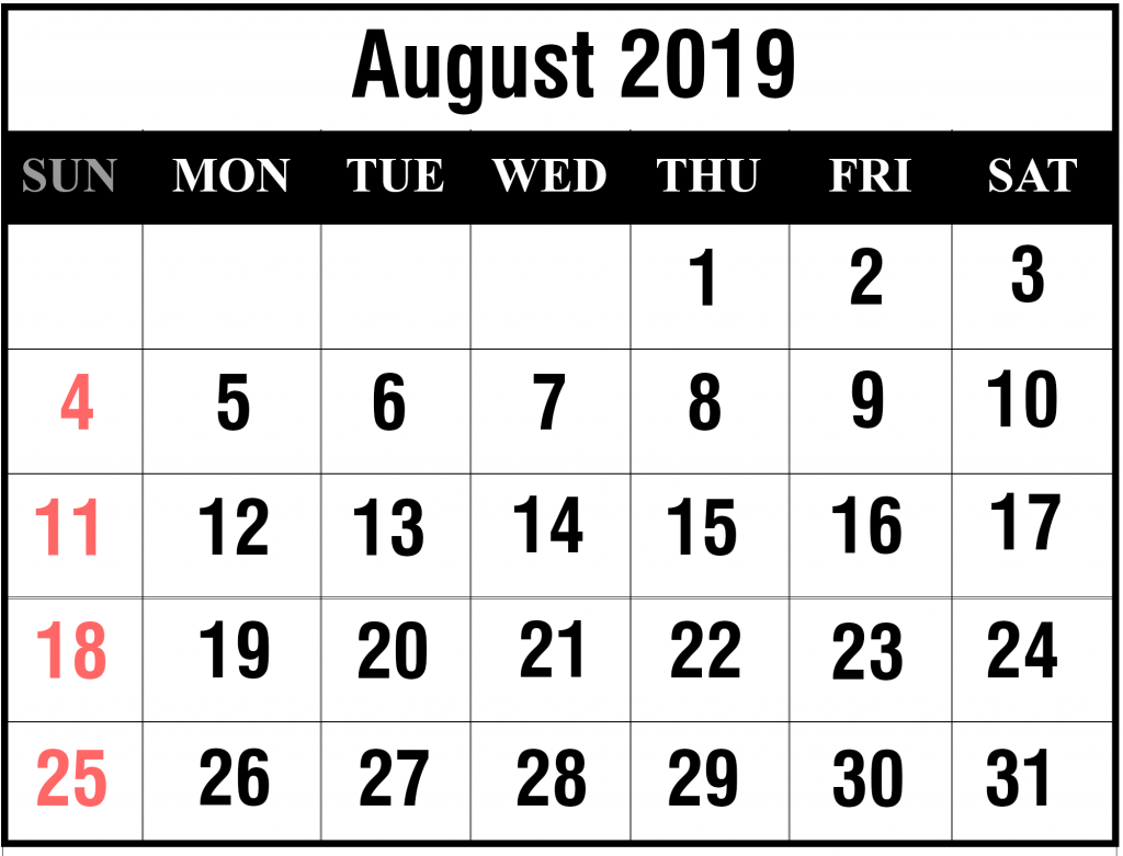 photo relating to Printable August Calendar Pdf called Printable August 2019 Calendar With Holiday seasons [PDF, Excel