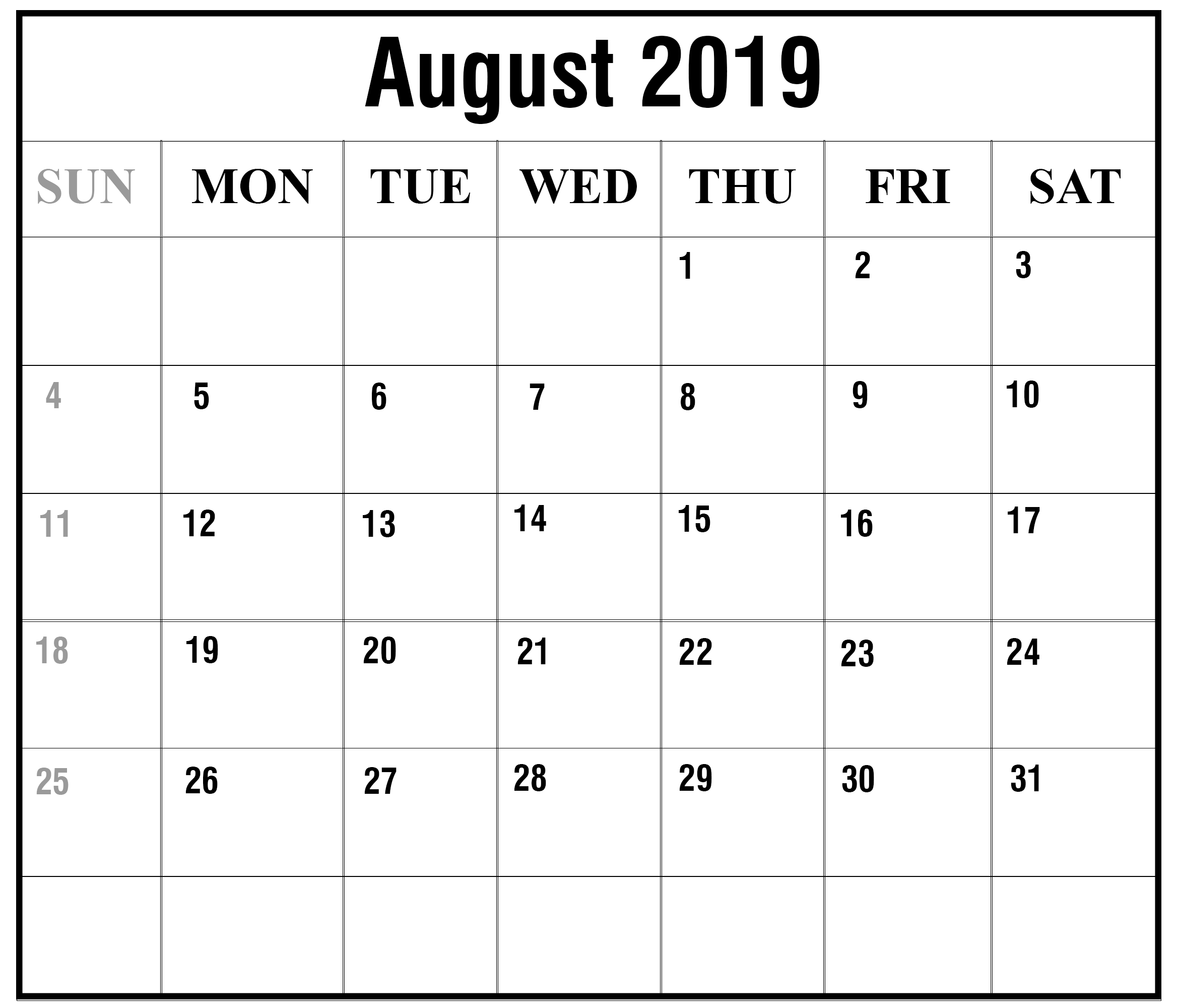August 2019 Calendar With Holidays.Printable August 2019 Calendar With Holidays Pdf Excel Word