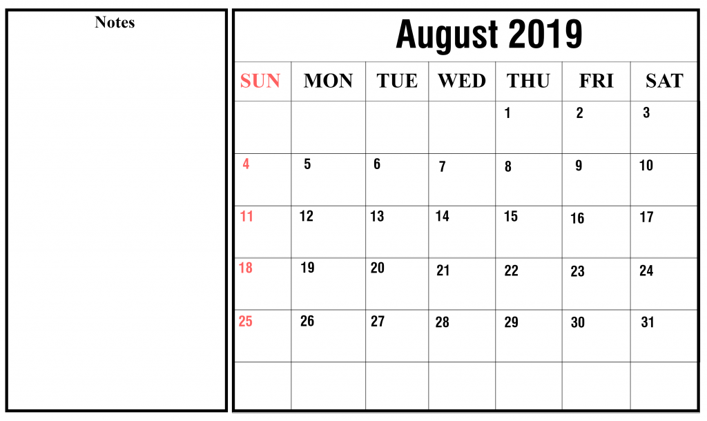 graphic relating to Printable Monthly Calendar August titled Printable August 2019 Calendar With Vacations [PDF, Excel