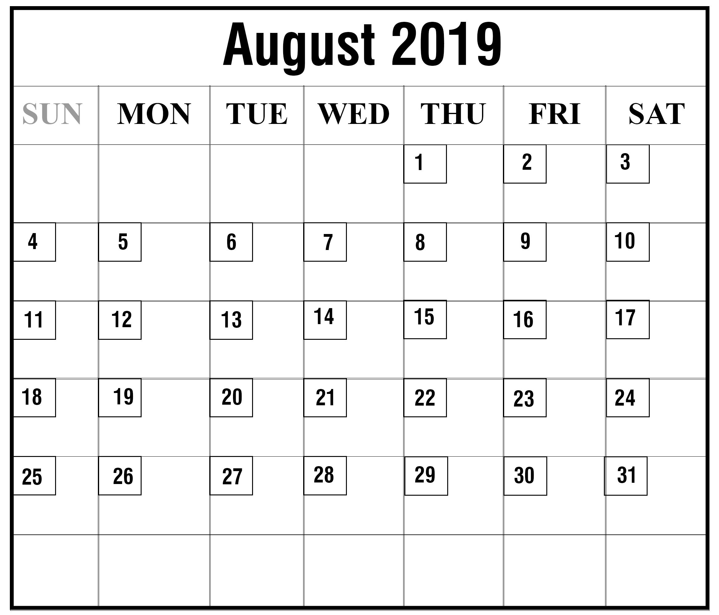 graphic relating to October Free Printable Calendar identified as Totally free Blank August, September and Oct 2019 Printable