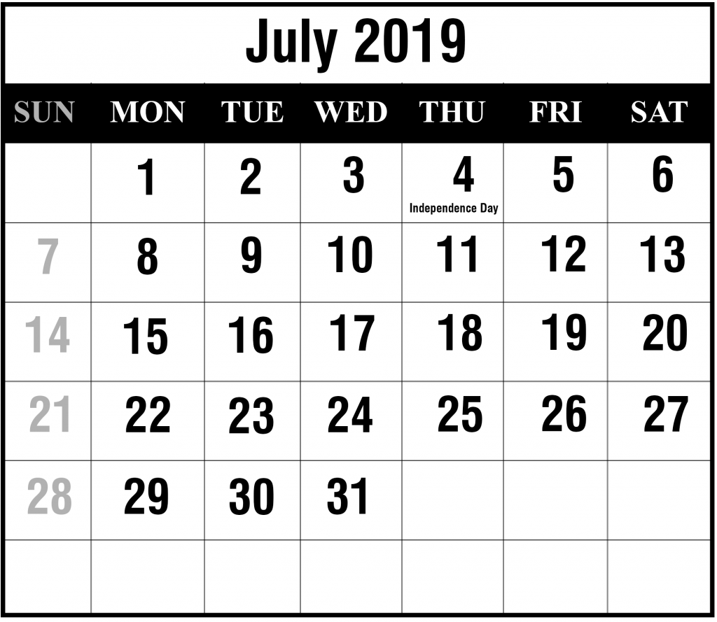 Printable July 2019 Calendar With Holidays Pdf Excel Word