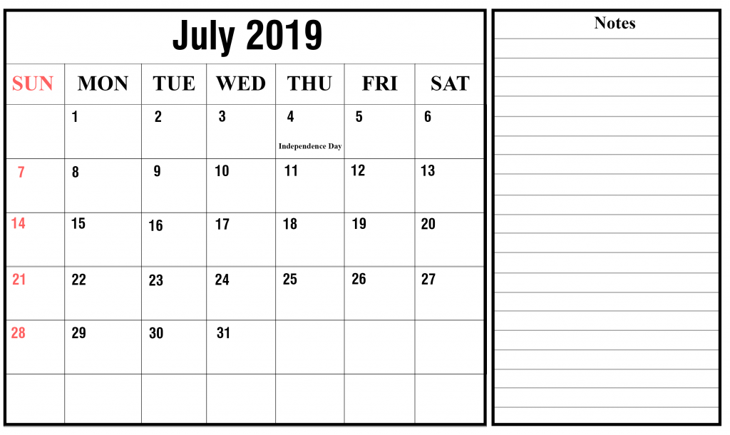 Printable July 2019 Calendar With Holidays [PDF, Excel, Word