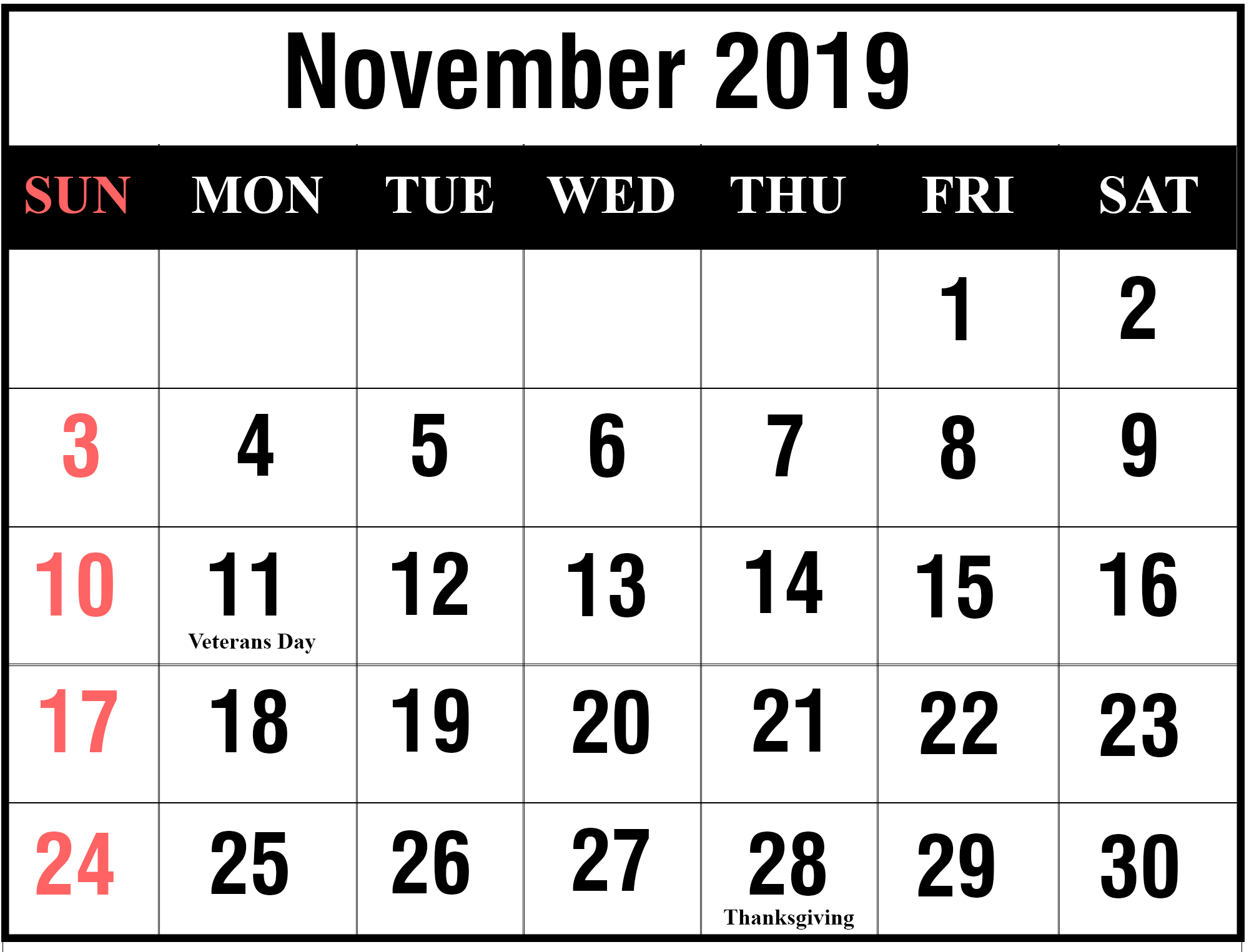 graphic about Printable Nov Calendar referred to as Free of charge November and December 2019 Printable Calendar With