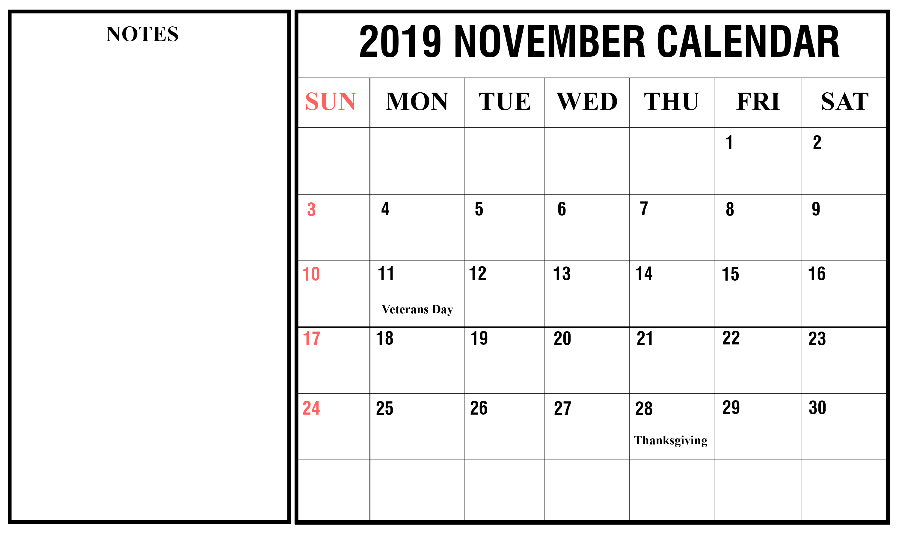 graphic regarding Printable November Calendar Pdf identify Free of charge Printable November 2019 Blank Calendar [PDF, Excel