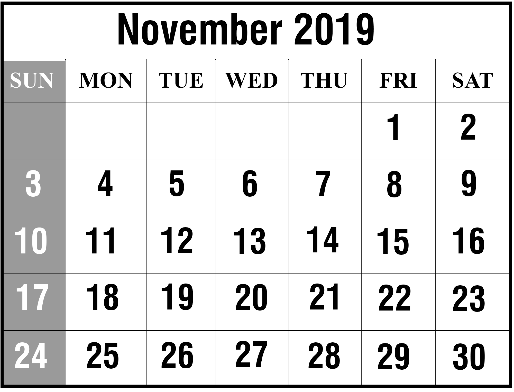 graphic regarding Free Printable Nov Calendar identified as Totally free Printable November 2019 Blank Calendar [PDF, Excel