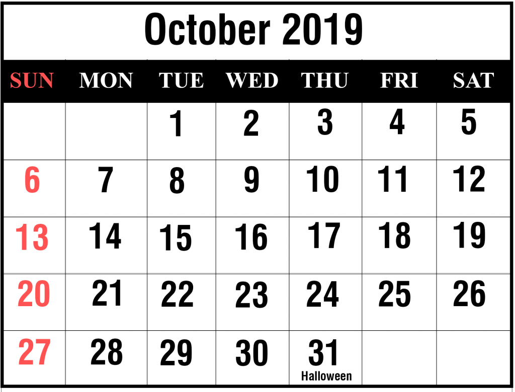photo relating to Oct Calendar Printable Pdf known as Printable Oct 2019 Calendar With Vacations [PDF, Excel