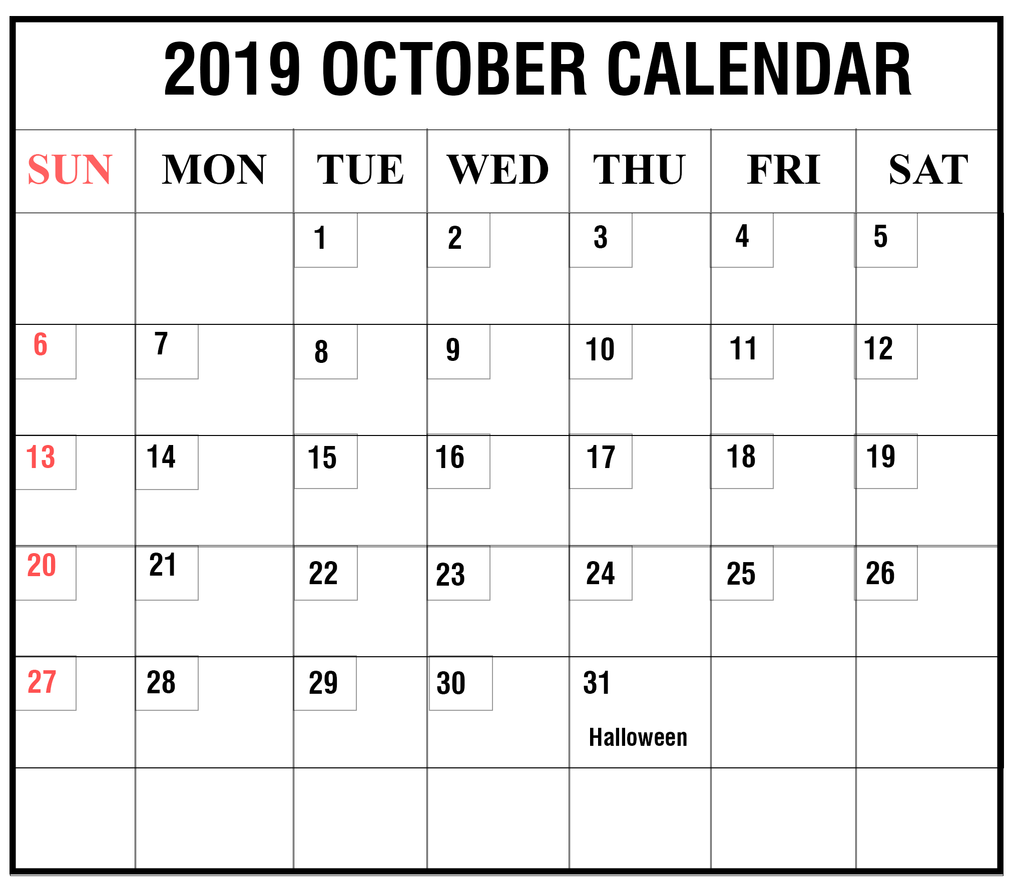 image relating to Free Printable October Calendars named Free of charge Printable Oct, November December 2019 Blank