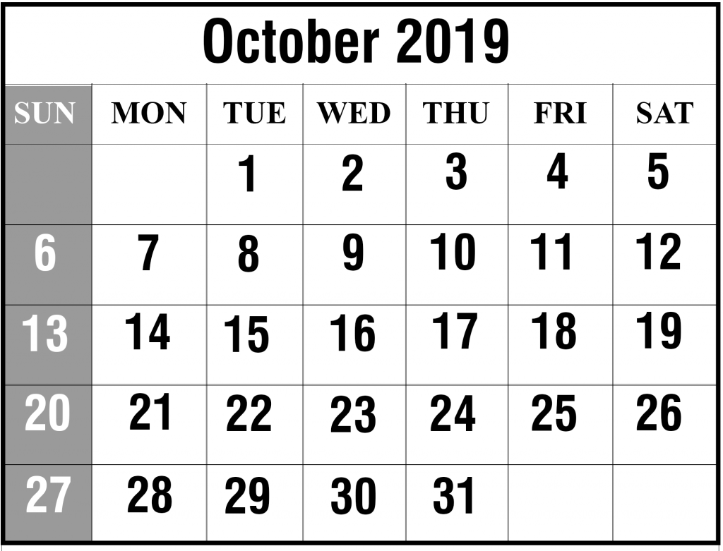 photograph relating to Free Printable Calendars October identified as Printable Oct 2019 Calendar With Holiday seasons [PDF, Excel
