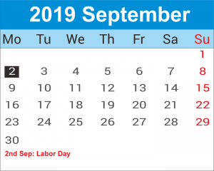 September Portrait Calendar 2019