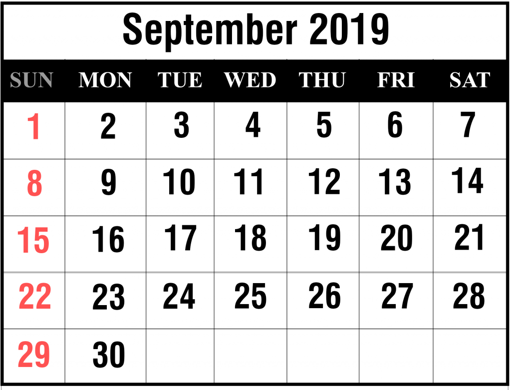 photograph about September Printable Calendar referred to as Printable September 2019 Calendar With Vacations [PDF, Excel