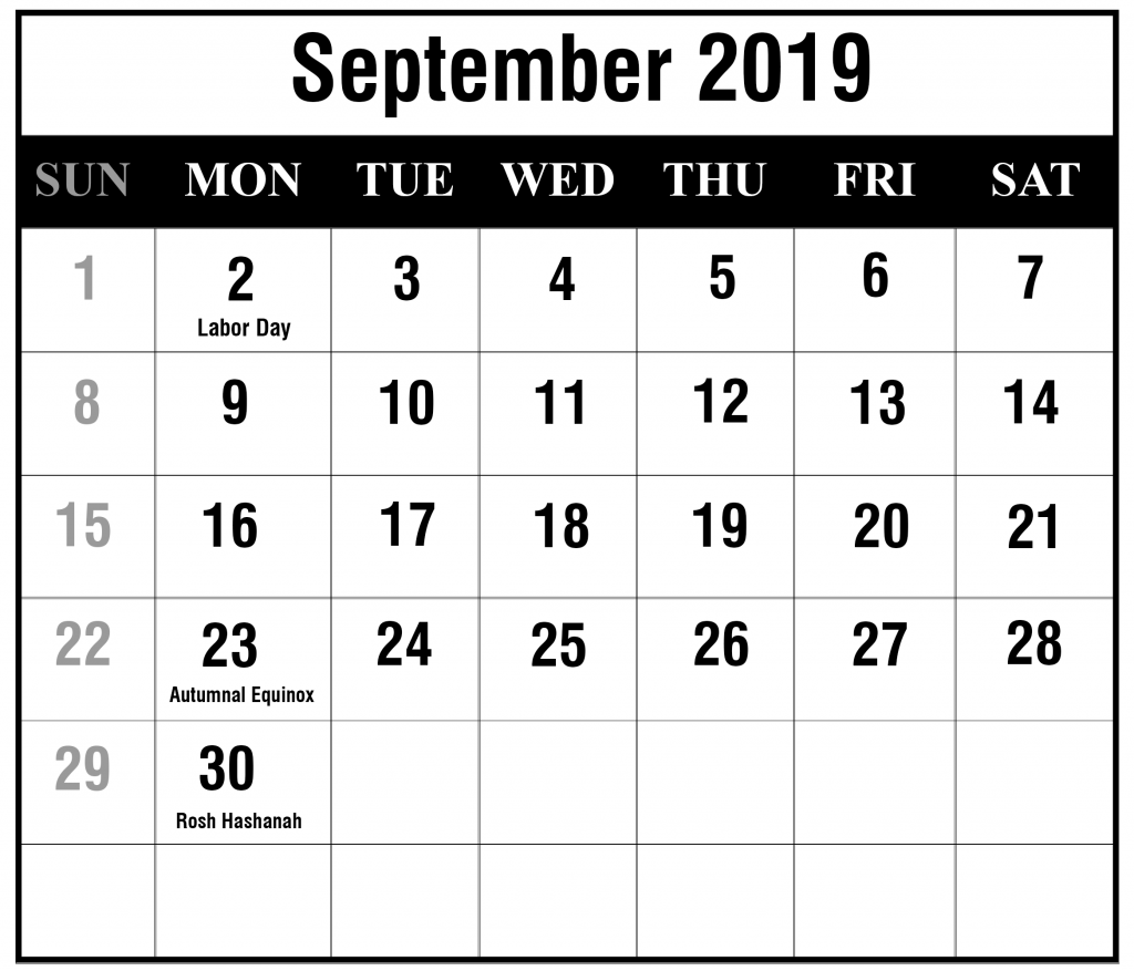 September 2019 Calendar with Holidays