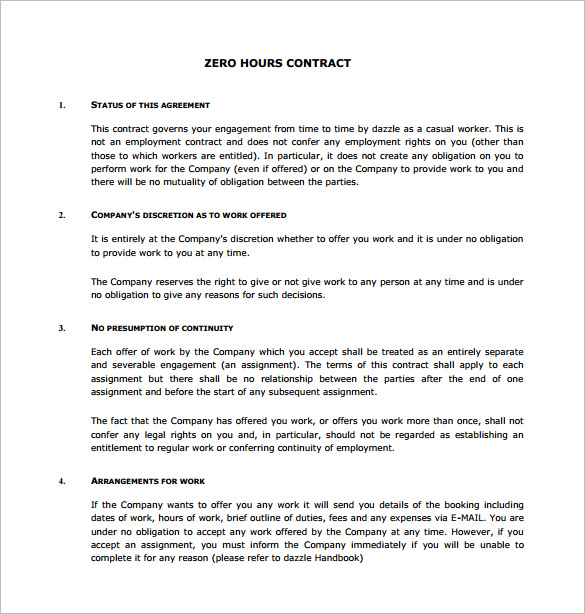 Zero Hours Contract Template Importance