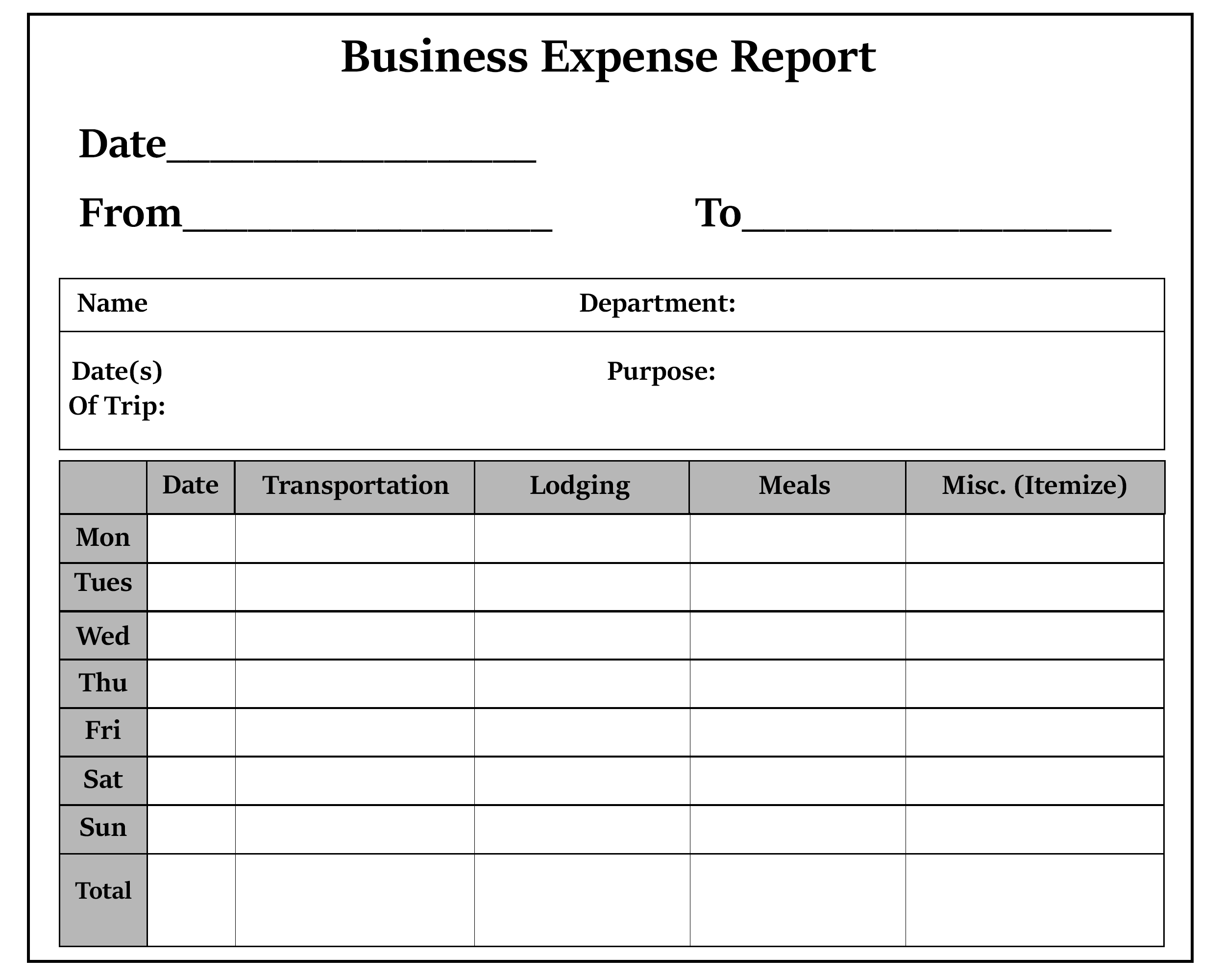 Business Expense Report Sample