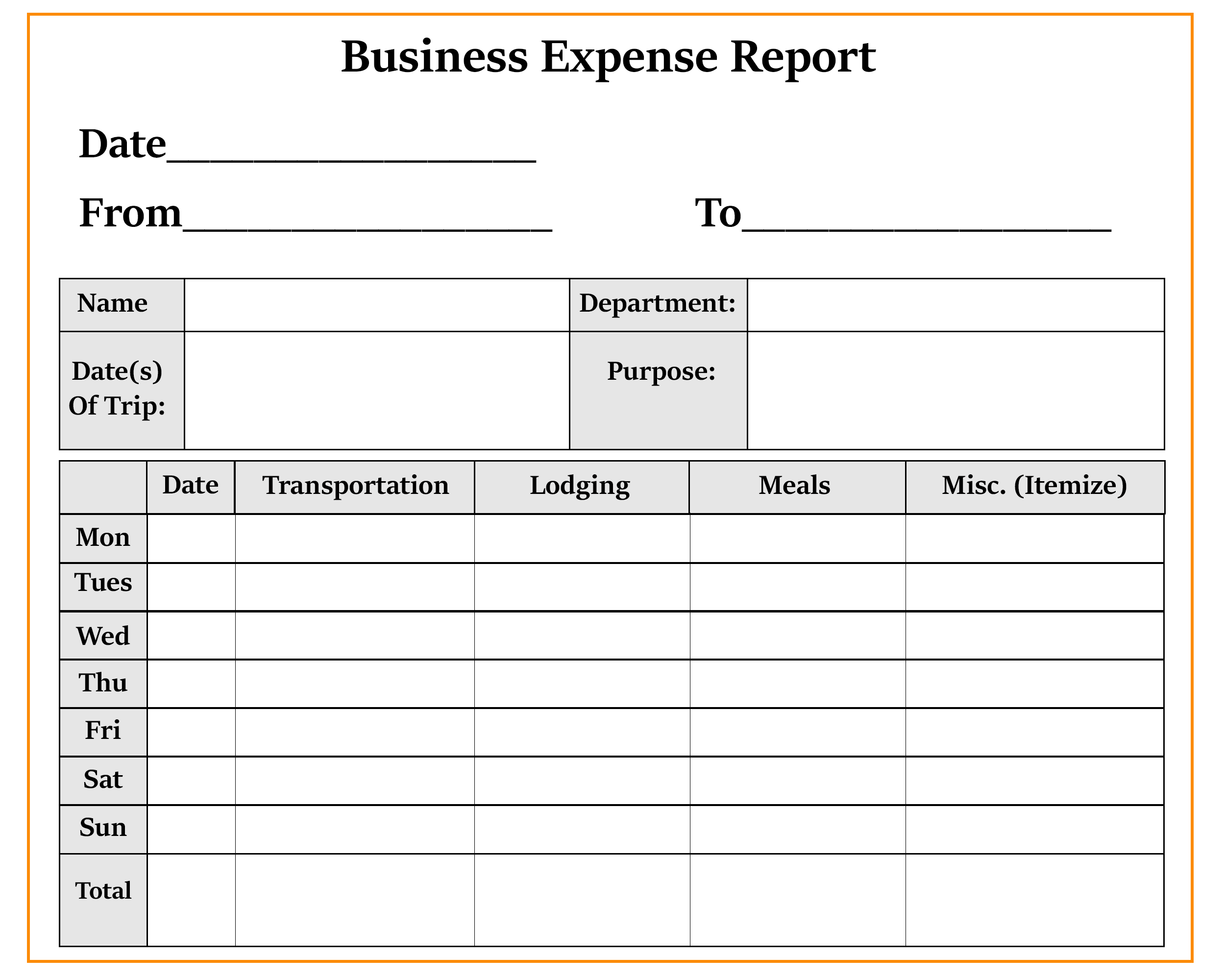 Business Expense Report Example