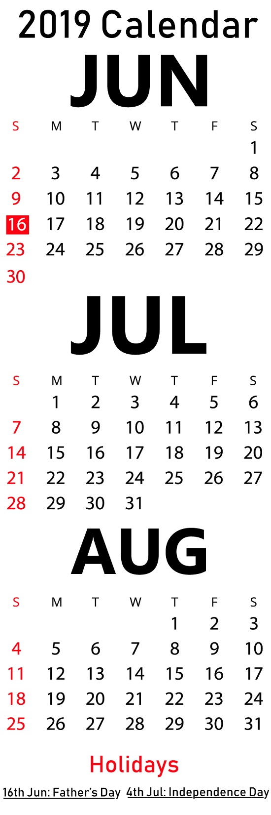 Printable June July August Calendar