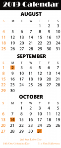 August & September & October 2019 Printable Calendar