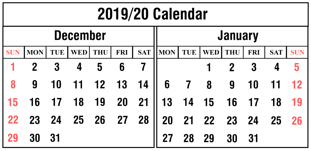 graphic about Printable December Calendar called Printable December and January 2019-20 Calendar with
