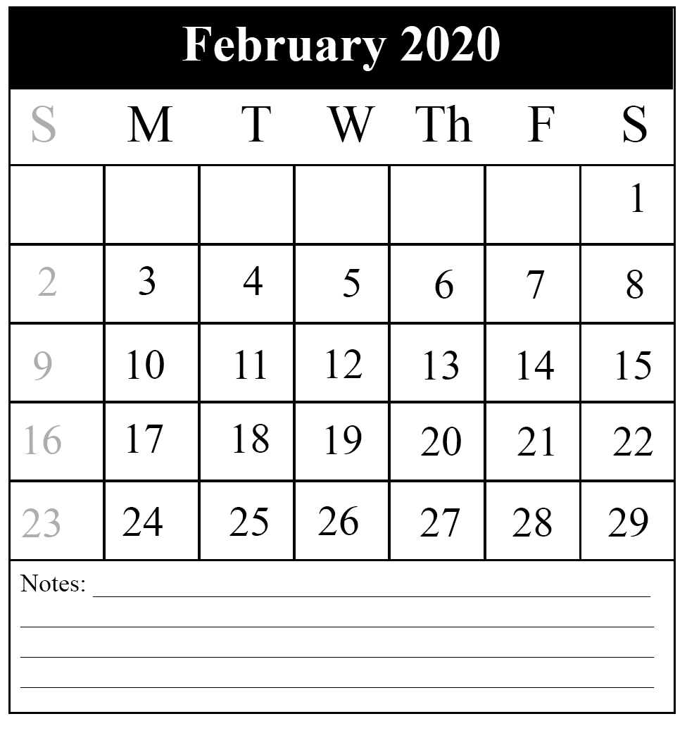 photograph regarding Printable Calendar Feb. called Cost-free February 2020 Printable Calendar Template with Holiday seasons