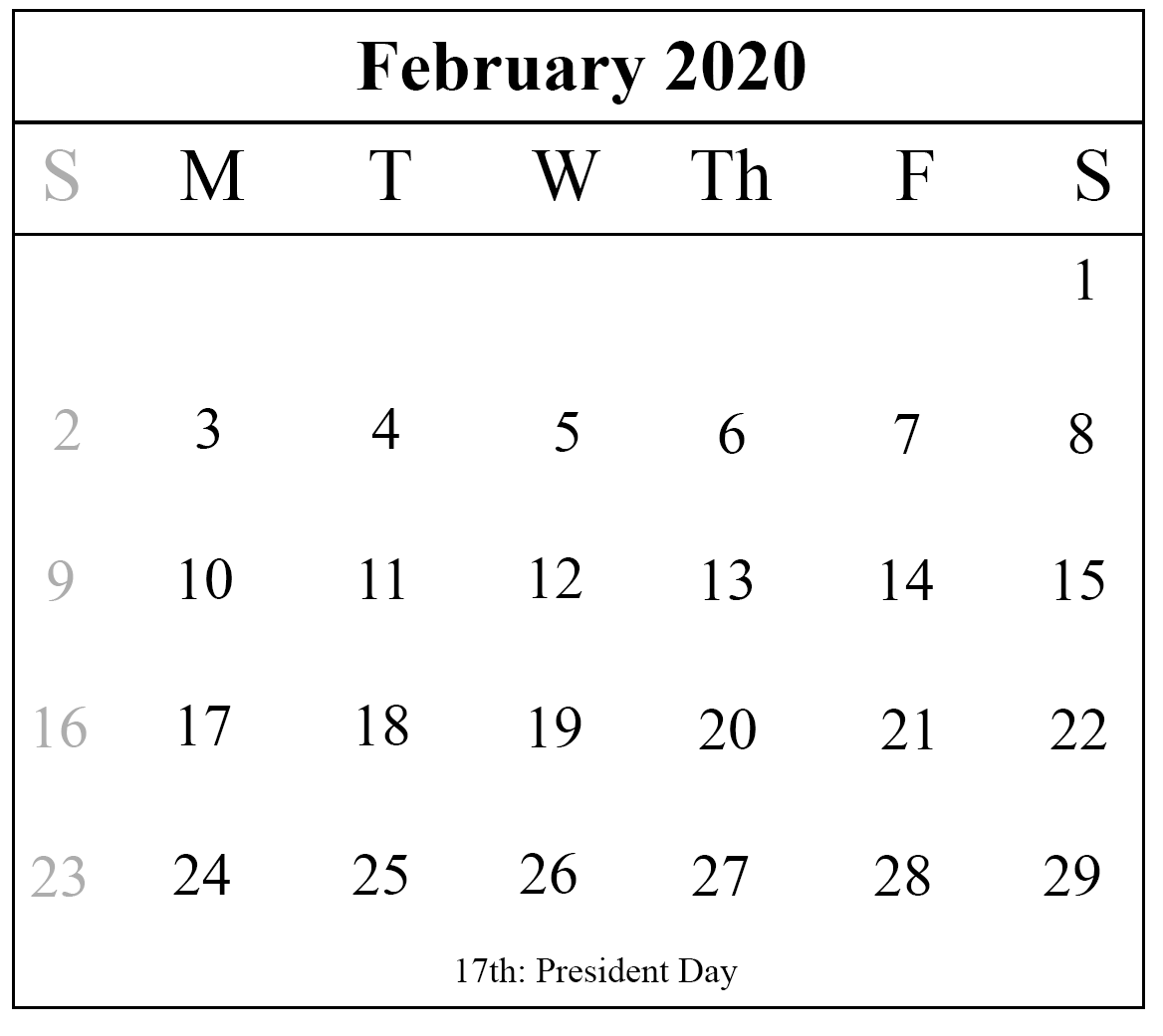 February 2020 Calendar With Holiday
