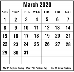 March 2020 Calendar With Holiday