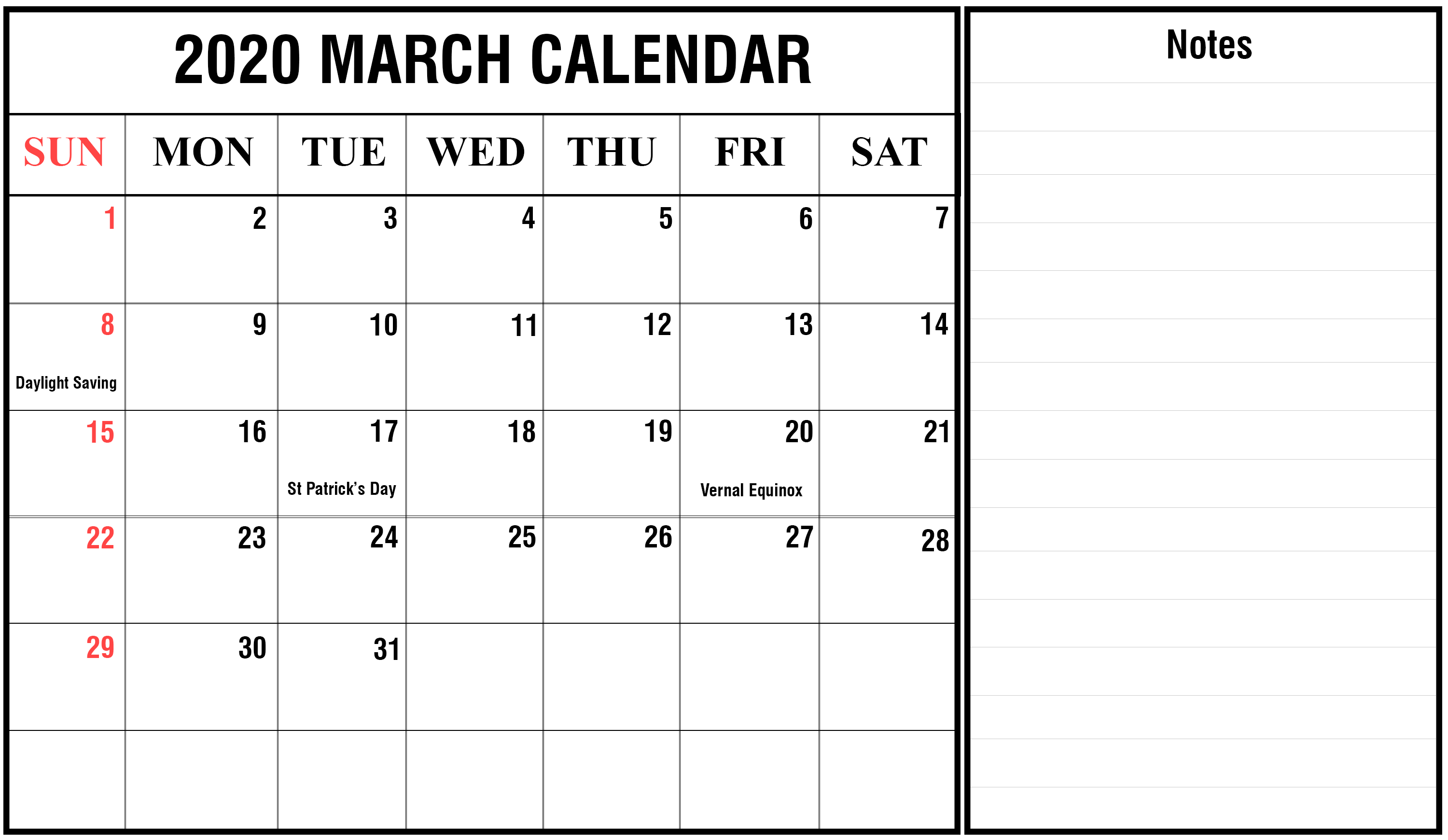 photograph about March Printable Calendar titled Cost-free March 2020 Printable Calendar Template with Vacations
