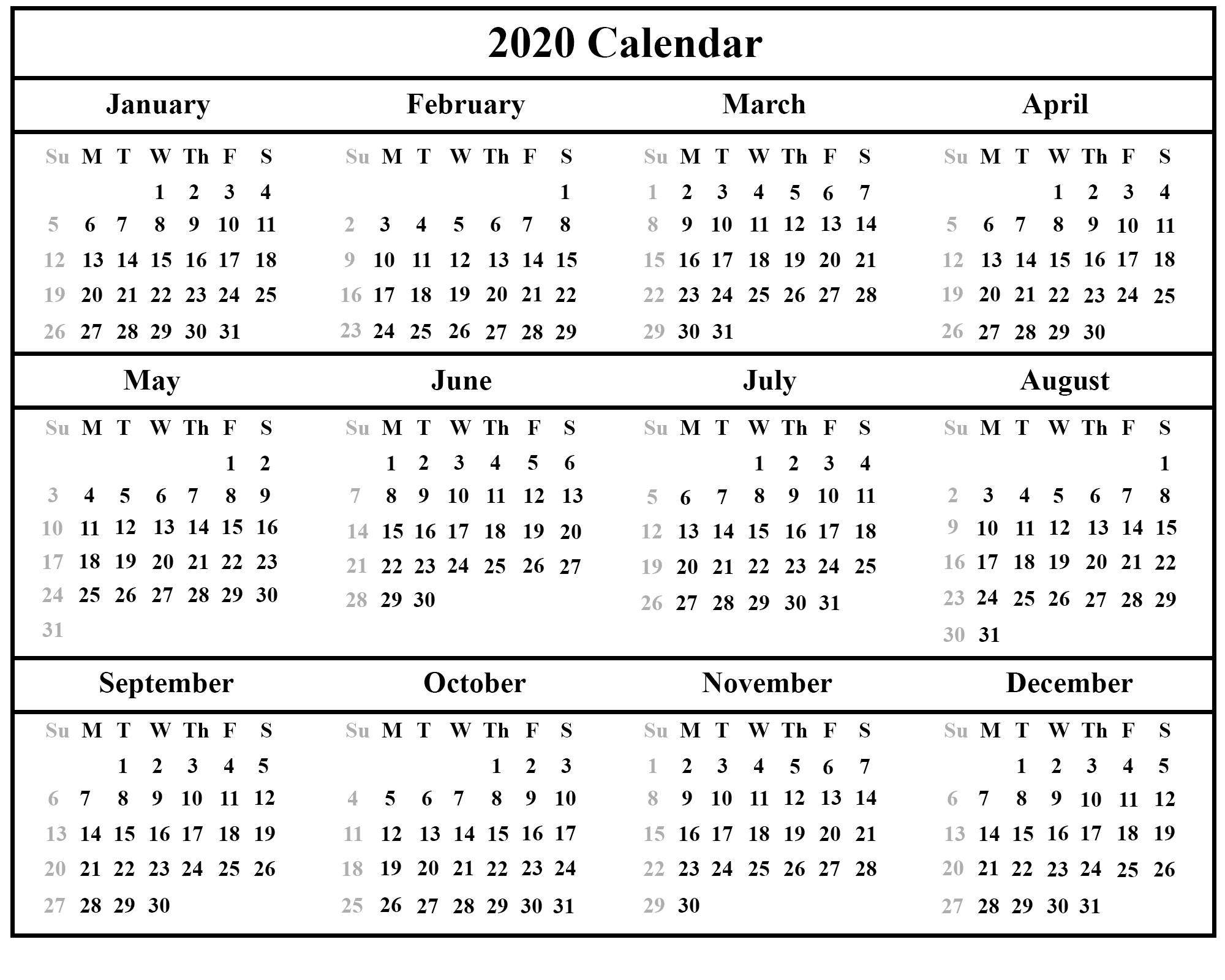 image relating to 2020 Calendar Printable named Printable Each year Calendar 2020 Template With Holiday seasons [PDF