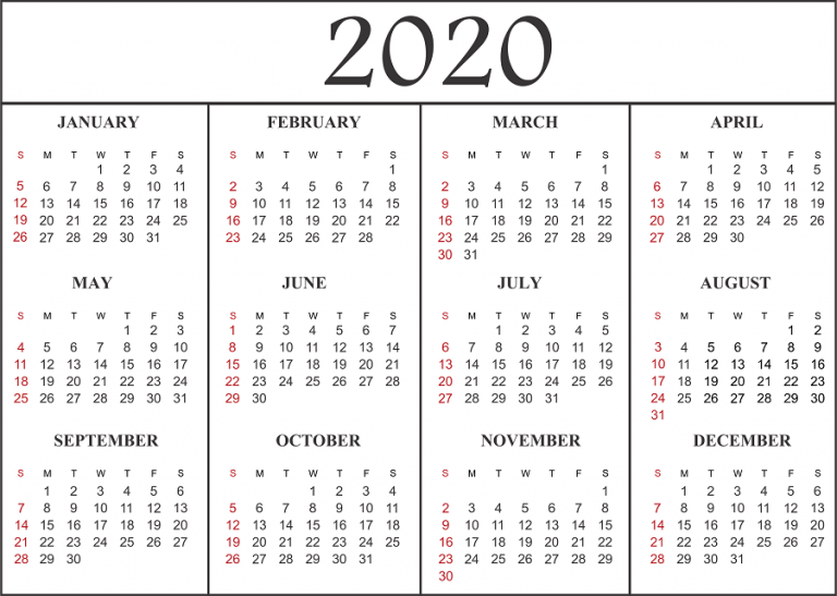 2020 Calendar Pdf Printable Yearly Calendar 2020 Template With Holidays [PDF, Word