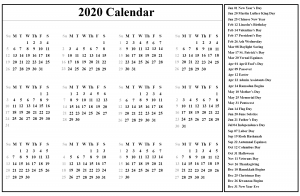2020 Calendar with Holidays