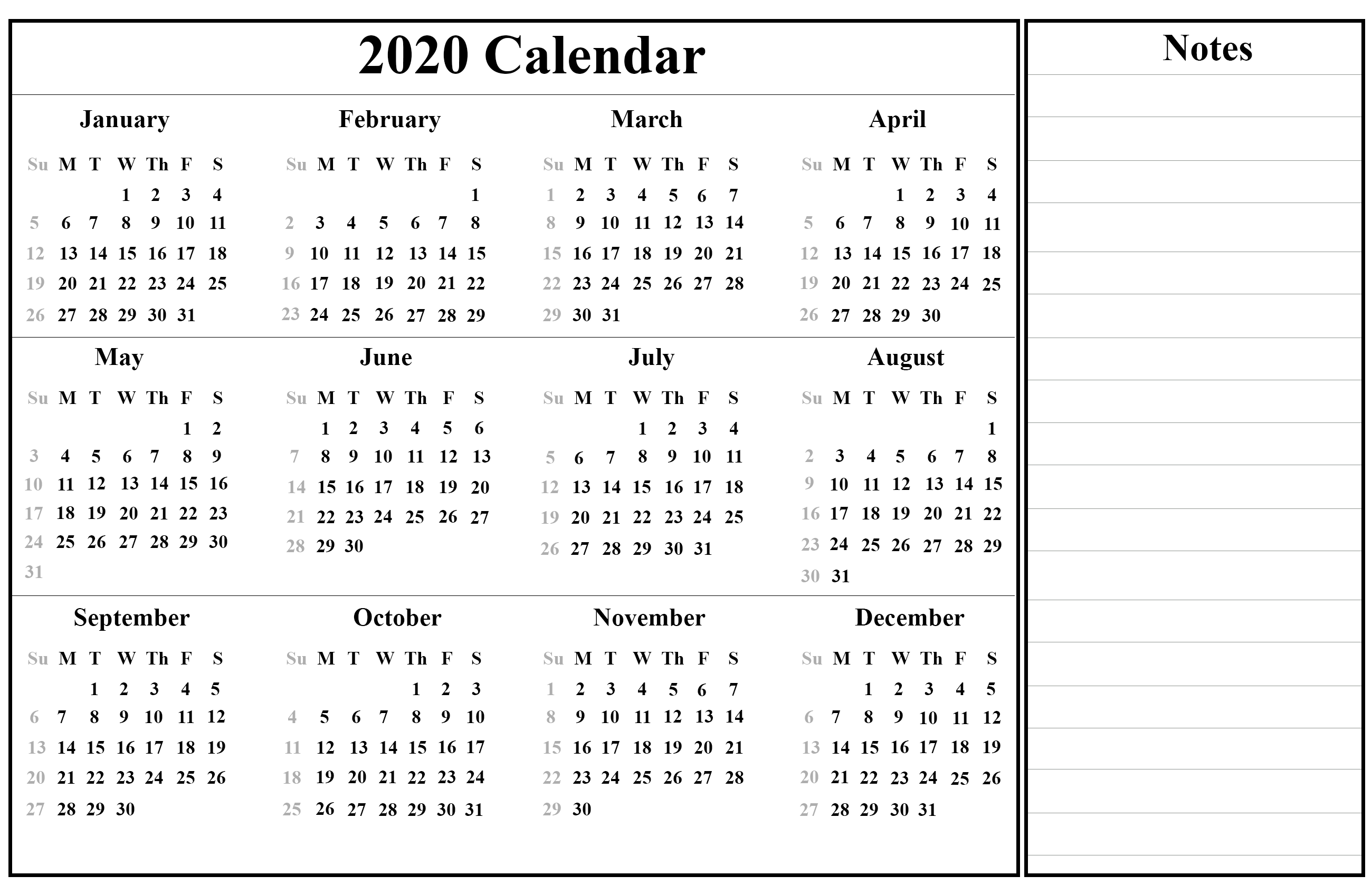 Calendar 2020 February And March.Printable Yearly Calendar 2020 Template With Holidays Pdf Word