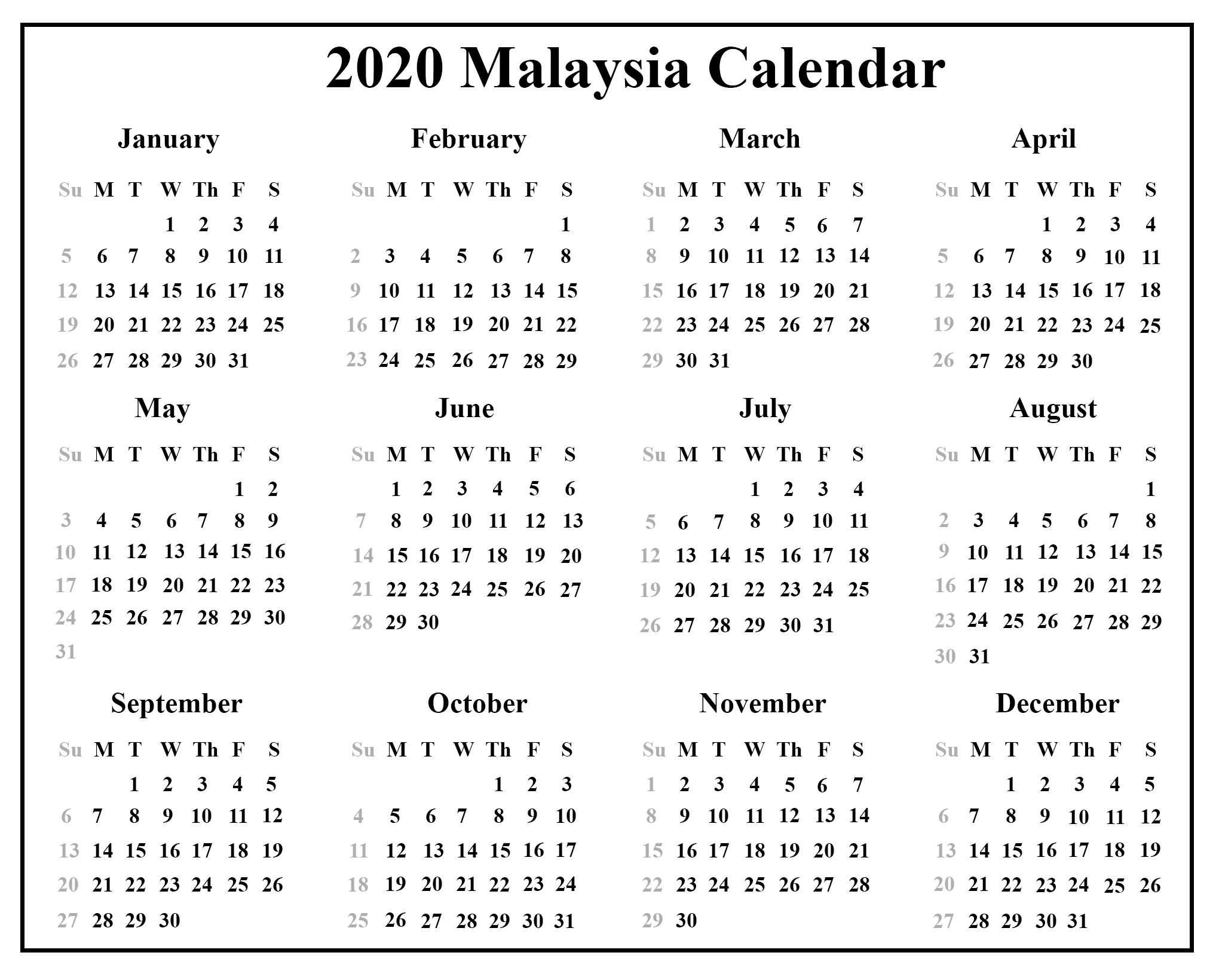 picture regarding 2020 Calendar Printable referred to as Totally free Malaysia Calendar 2020 With Holiday seasons PDF Excel