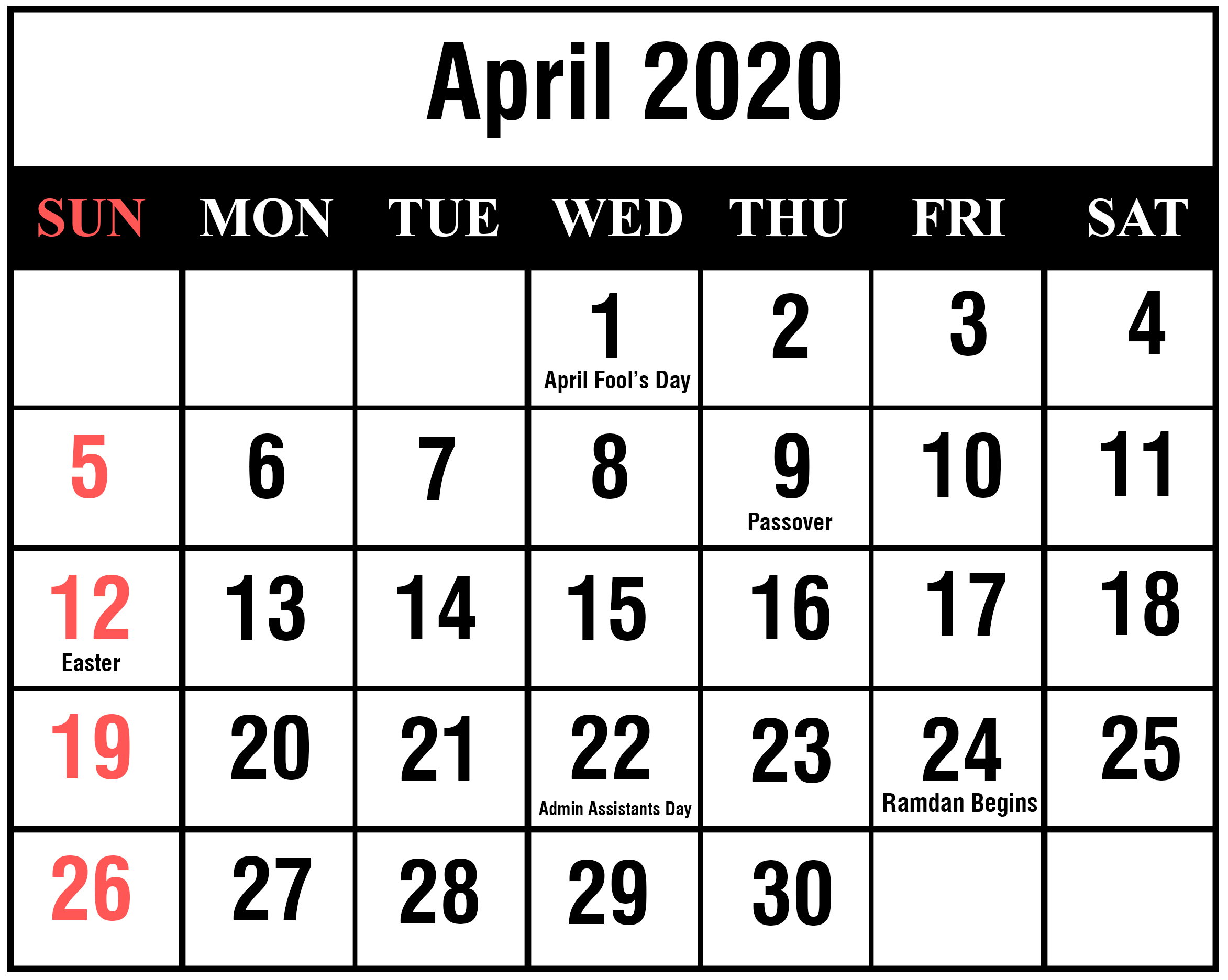 It's just a graphic of Wild Printable April 2020