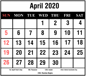 April 2020 Calendar With Holiday