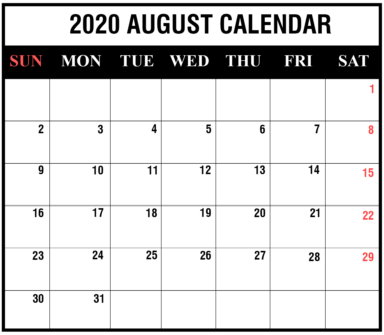 August 2020 Calendar With Holiday