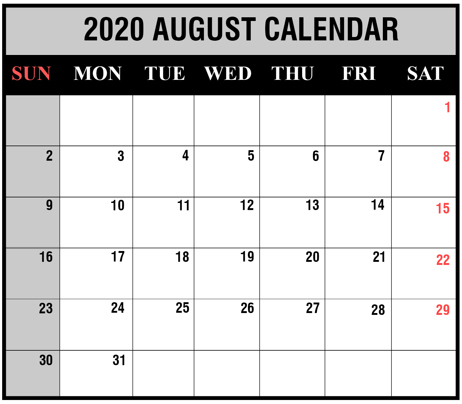 image relating to Free August Calendar Printable named Totally free August 2019 Blank Calendar Printable Template