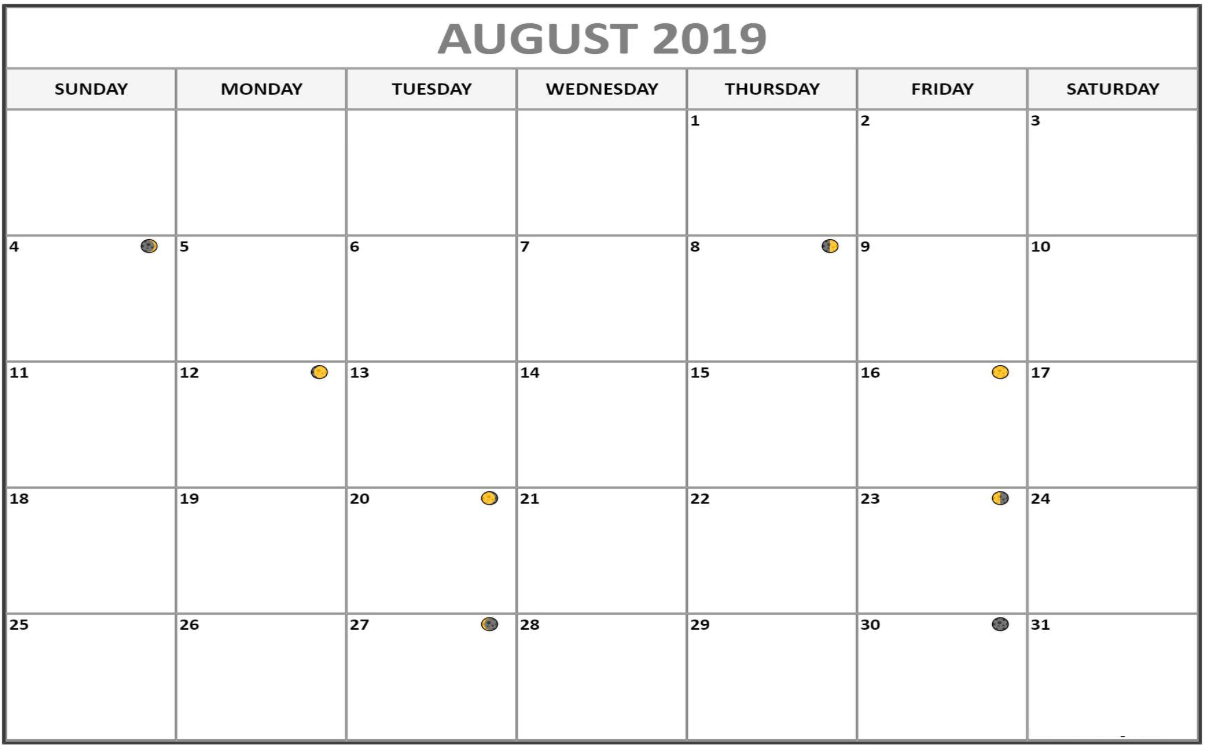 August 2019 New Moon & Full Moon Phases Calendar Template