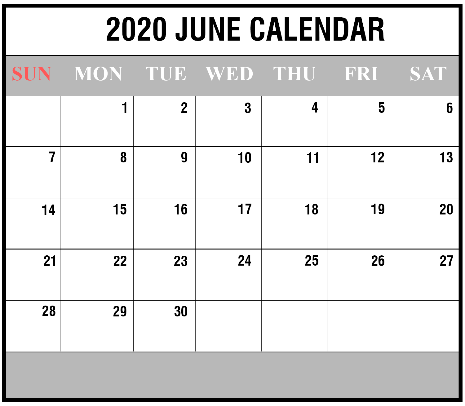 Calendar June 2020.June 2020 3 Printable Template Calendar