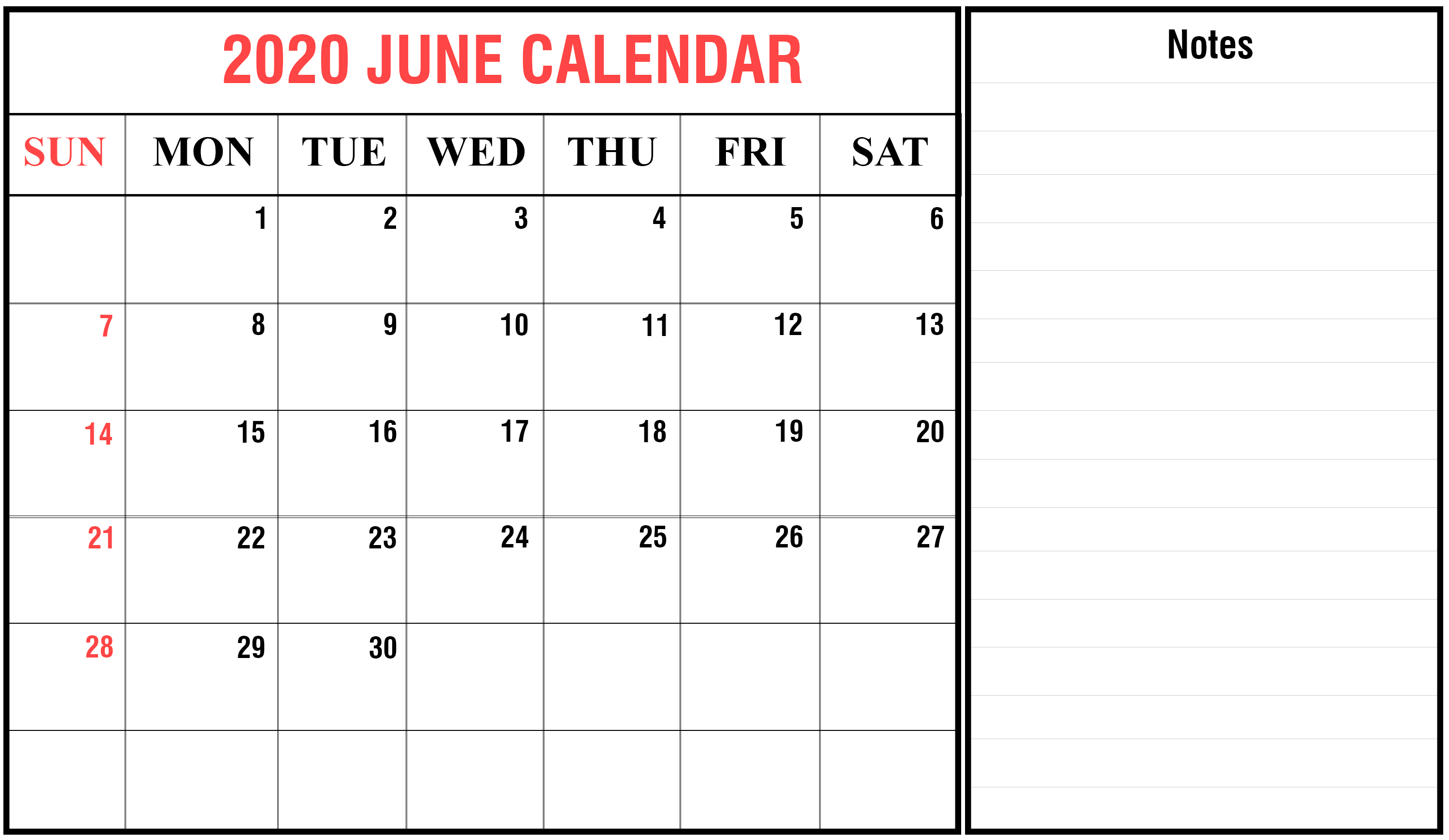 photograph about June Printable Calendar known as Free of charge June 2020 Printable Calendar Template with Holiday seasons