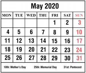 May 2020 Calendar With Holiday