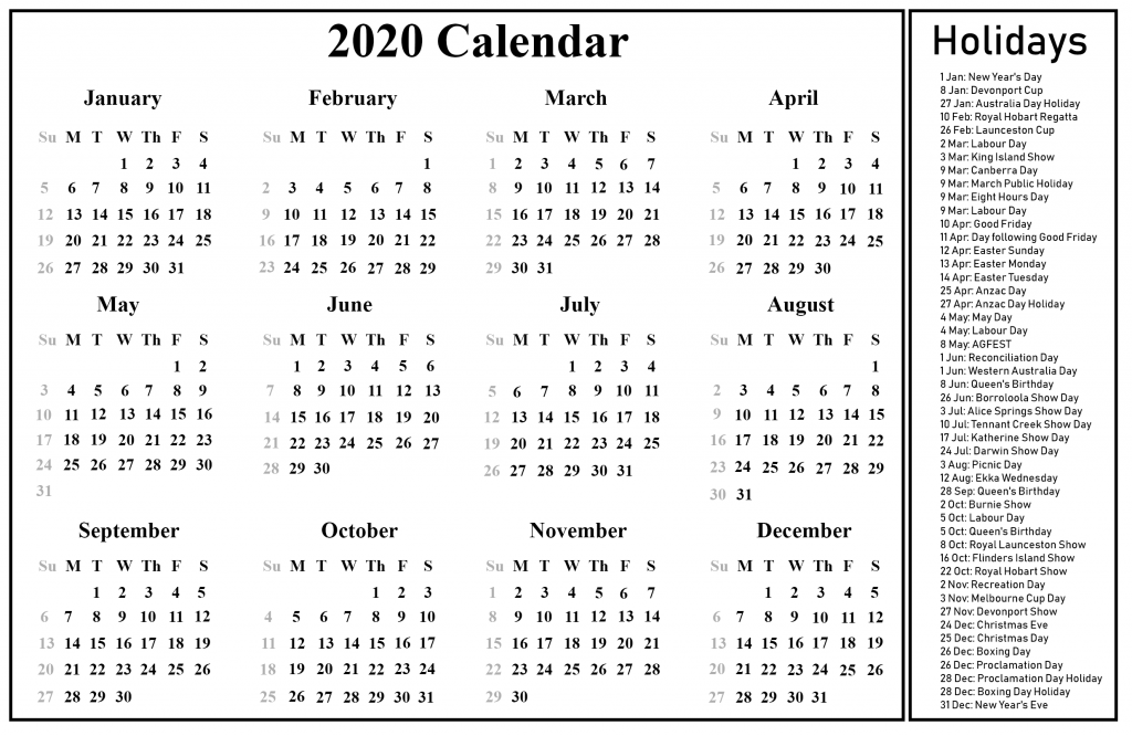 Printable 2020 Calendar with Australia Holidays