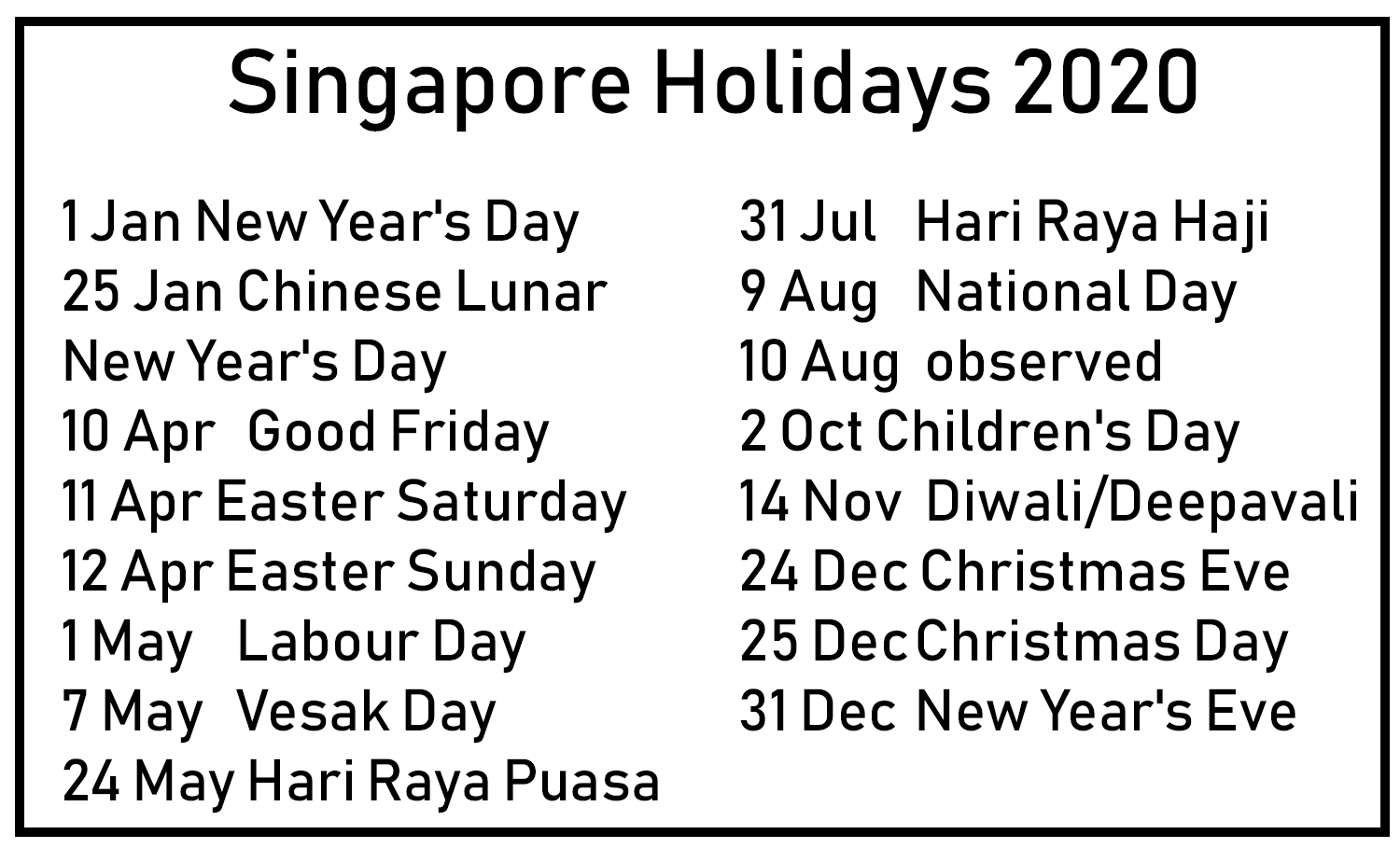 Printable 2020 Calendar with Singapore Holidays