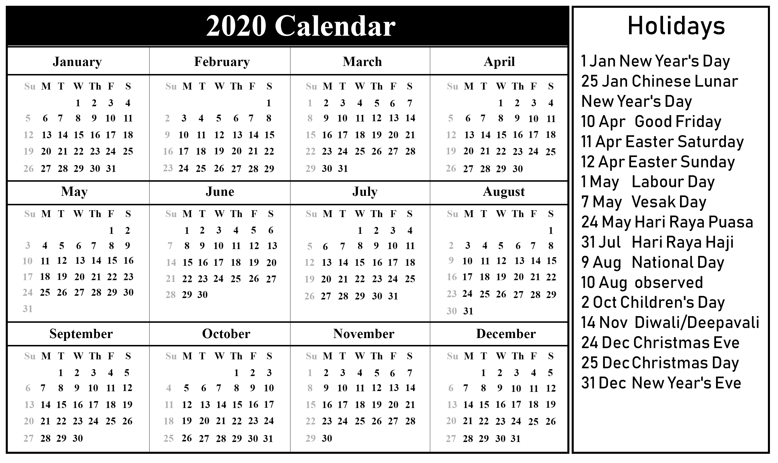 photograph about Calendar 2020 Printable called Cost-free Printable Singapore 2020 Calendar With Vacations In just PDF