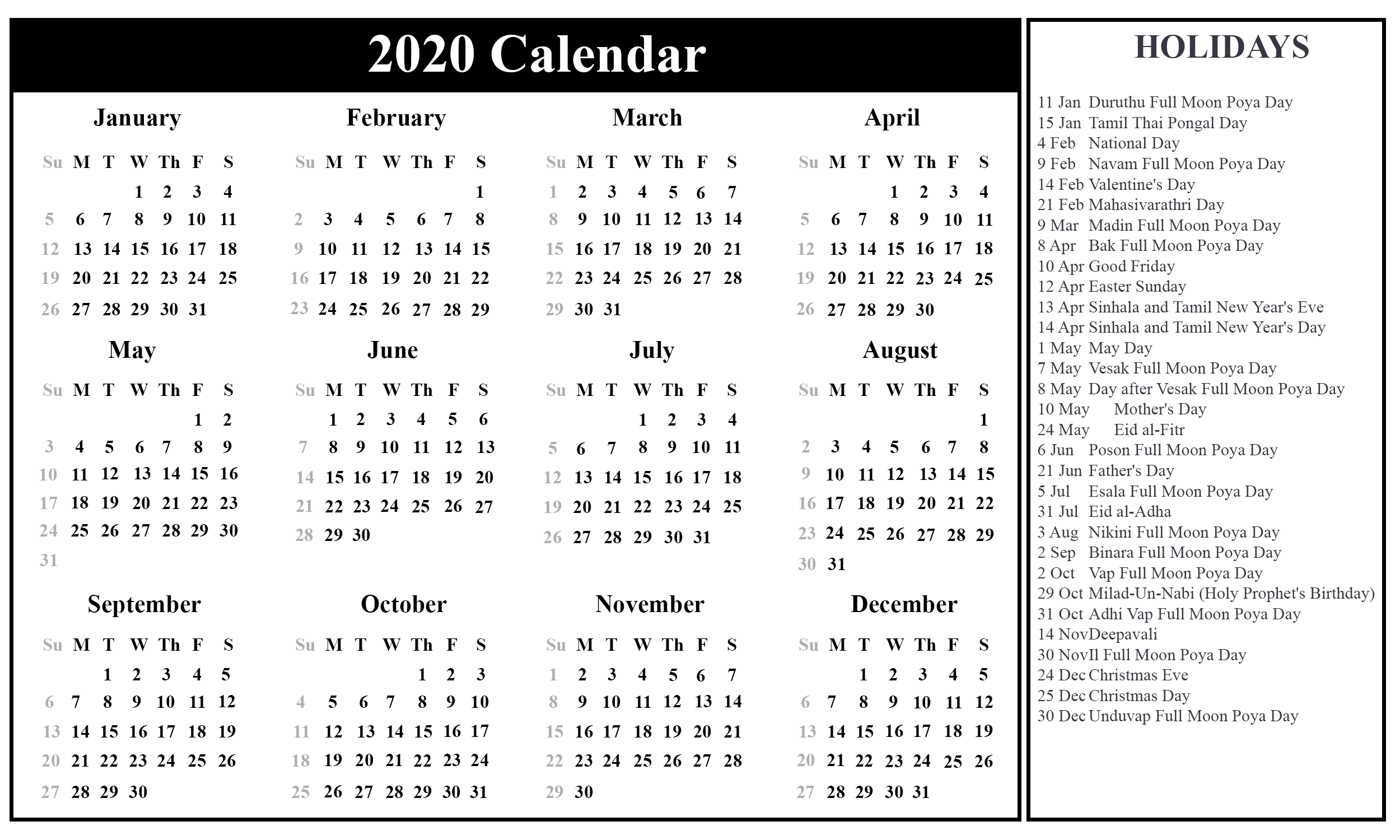 Printable 2020 Calendar with Sri Lanka Holidays