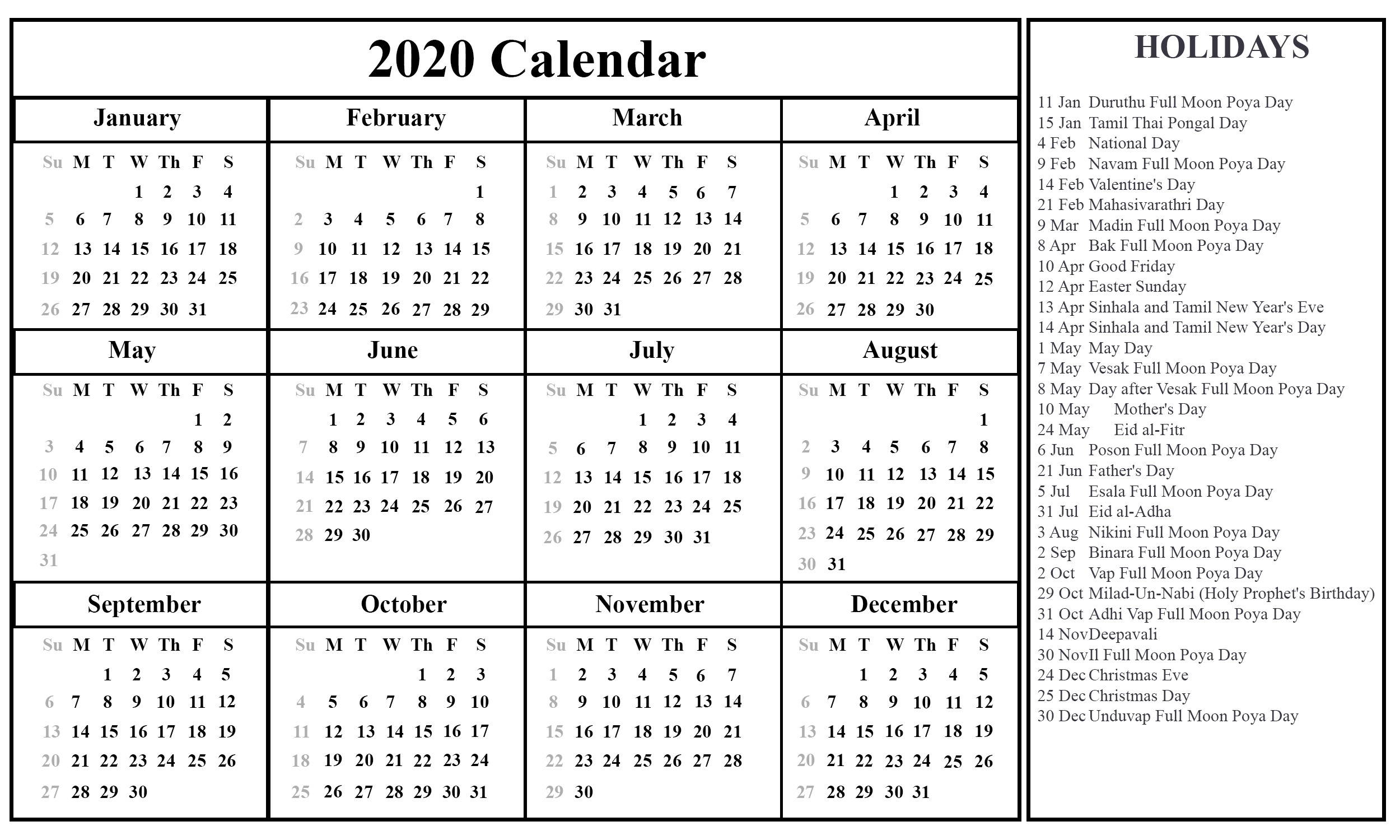 graphic about Free Printable 2020 Calendar With Holidays named Free of charge Sri Lanka 2020 Calendar With Vacations Inside of PDF Phrase