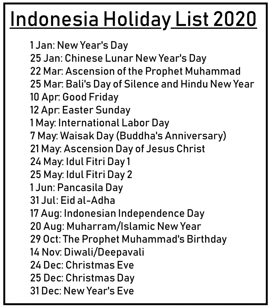 List Of Holidays 2020.Printable Free Download Indonesia Calendar 2020 Pdf Excel
