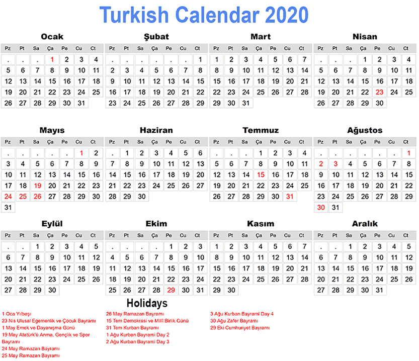 Printable Turkish Calendar 2020