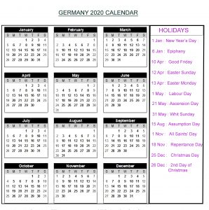 Calendar 2020 Templates With German Holidays