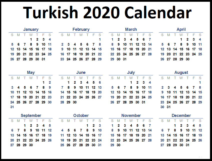 Turkish 2020 Printable Calendar